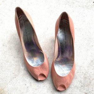 Marc Jacobs Leather Peep Toe Slip-on Kitten Heels